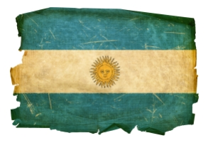Argentina Flag old, isolated on white background.
