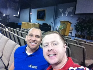 A picture of Jeff Bush and me a Vision Baptist.