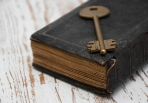 antique book and  old key