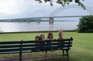 The kids seeing the mighty Mississippi
