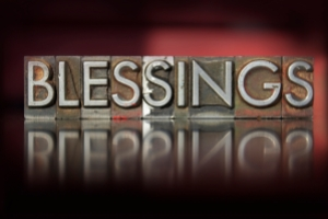 The word Blessings written in vintage letterpress type