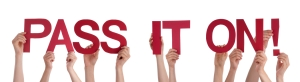 Many Caucasian People And Hands Holding Red Straight Letters Or Characters Building The Isolated English Word Pass It On On White Background